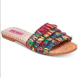 NWOB/T Colorful Fringe Venus Cork Slide Sandals